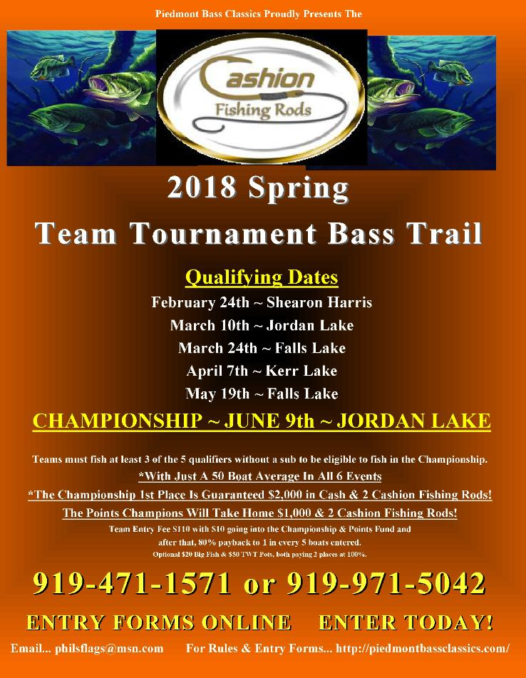 Cashion Fishing Rods 2018 Team Tournament Bass Trail Schedule