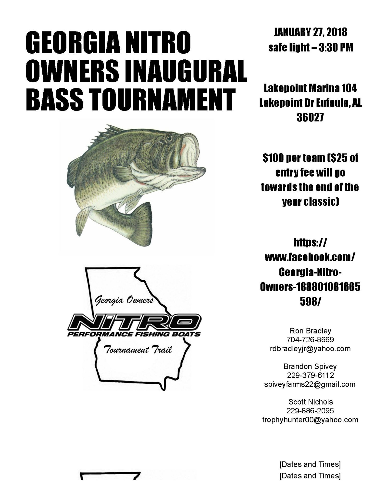 Georgia Nitro Owners Inaugural Bass Tournament Trail 2018 Schedule