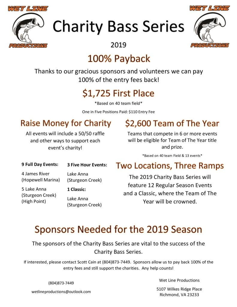 Wet Line Productions 2019 Charity Bass T.T. Schedule