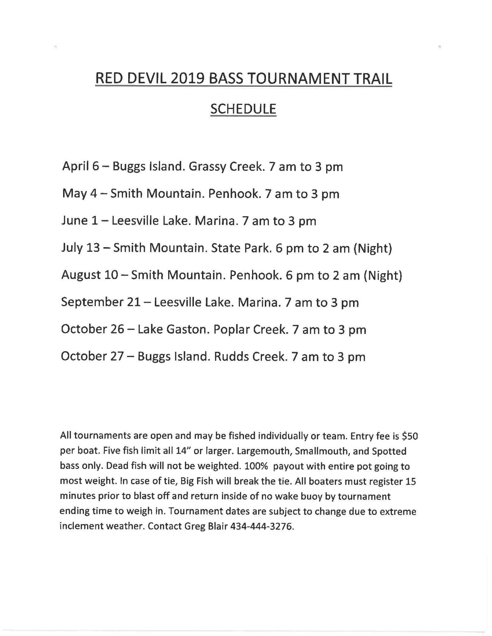 Red Devil 2019 Tournament Schedule
