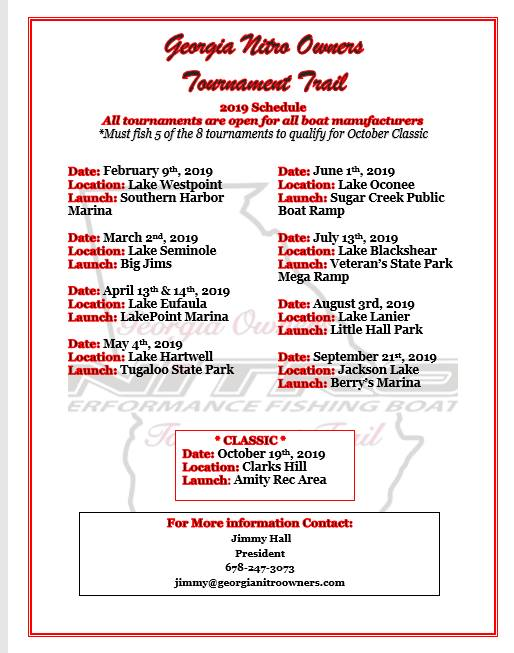 Georgia Nitro Owners  2019 Tournament Trail Schedule