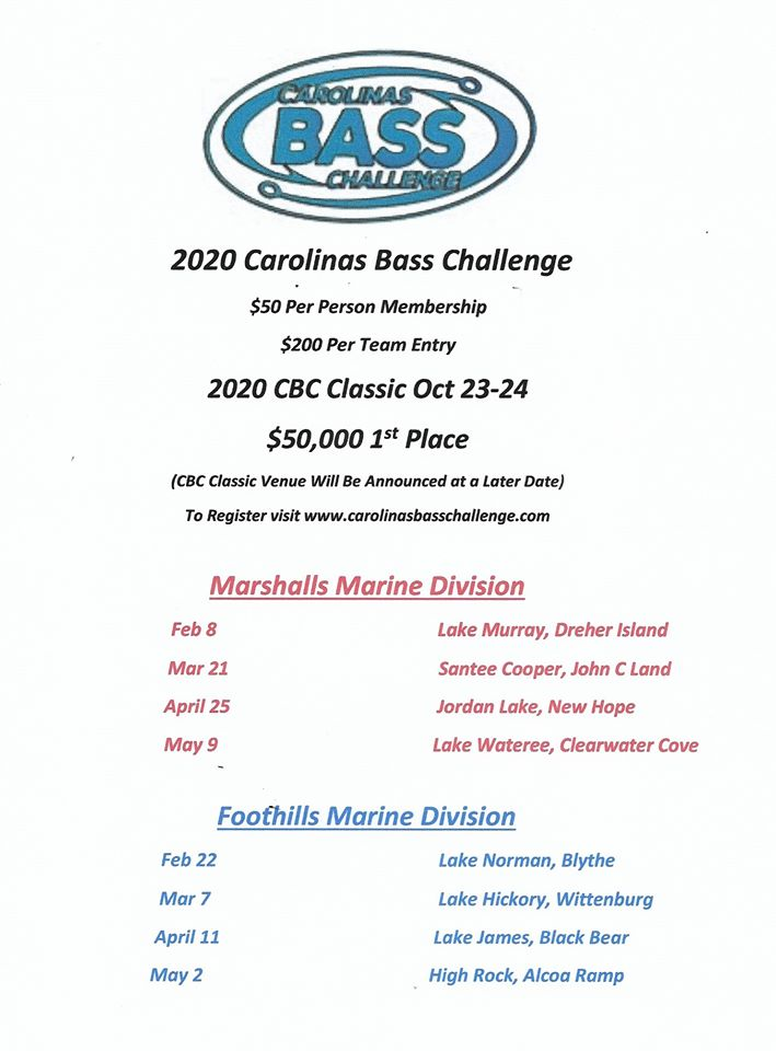 Carolina's Bass Challenge 2020 Schedule NC/SC Divisions