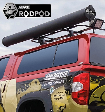 A r e introduces rod pod tm roof mounted fishing rod for Roof rack fishing rod holder